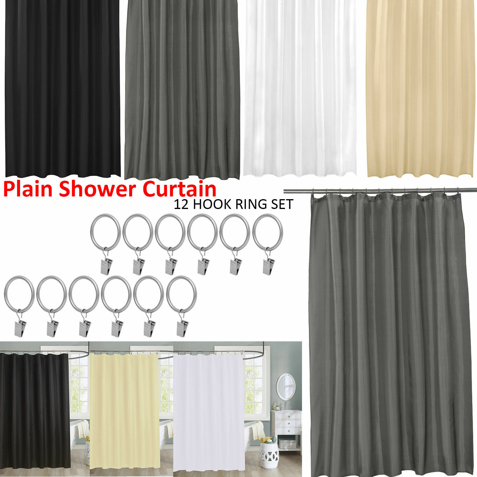Details About Waterproof Bathroom Shower Curtain Extra Long 12 Hooks Ring Set 180x180cmk