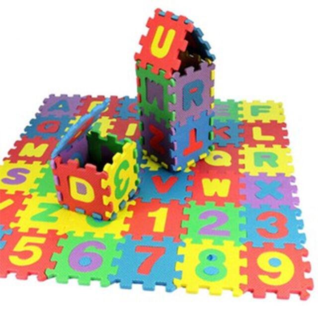 36pcs tapis de jeu puzzle en mousse antiderapant et epais lettre chiffres