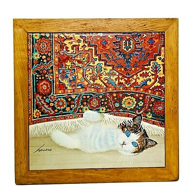lowell herrero kitty cat framed tile art wall hanging trivet vandor japan ebay