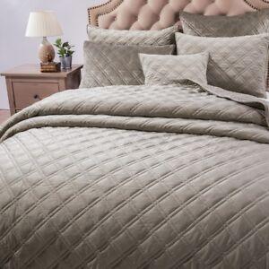 details about dada bedding soft velveteen elegant quilted coverlet bedspread set taupe grey