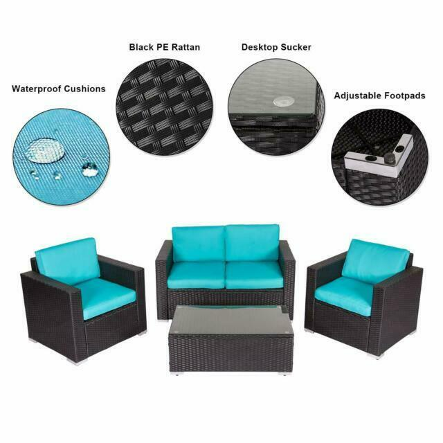 kinbor rattan patio outdoor sectional furniture 4 pieces with cushions blue