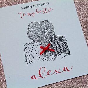 Personalised Handmade Birthday Card Bestie Best Friend Girl Any Age Ebay