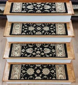 Rug Depot Set Of 13 Traditional Non Slip Carpet Stair Treads 32 X | Black Carpet Stair Treads | Bullnose | Slip Resistant | Interior | Gray | Indoor