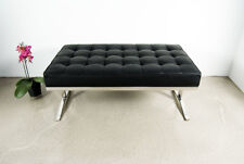 short stylish bauhaus seating bench 100 cm stainless steel real leather 160 black leather