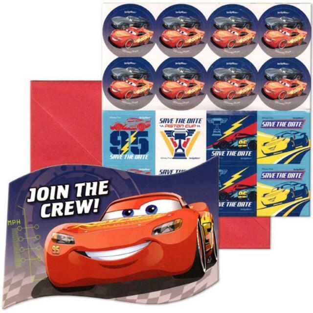 disney pixar cars birthday 8 invitations with envelopes
