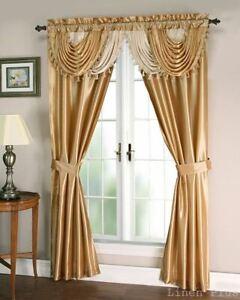 details about gold beige satin waterfall window curtain panels tie back set 5 piece linenplus
