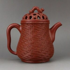 Chinese Yixing Zisha Clay Bamboo Weaving Design Teapot