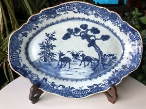 Relist - Antique Chinese 18thC Qing Blue & White Serving Plate with Deers 32CM