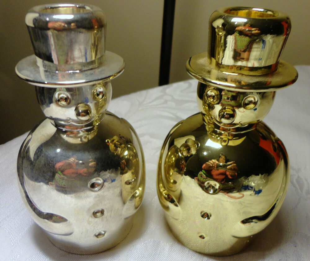 LOT 2 SILVER AND GOLD METAL SNOWMAN CANDLE HOLDER EBay