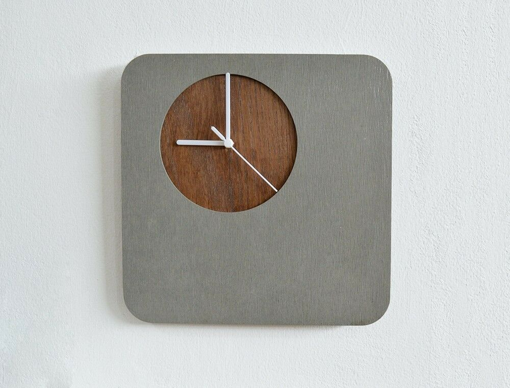 Concrete Wall Clock With Wooden Hole