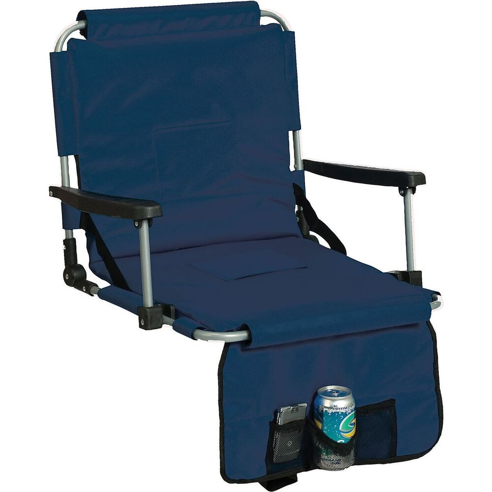 Blue Stadium Cushion Chair W Arm Rest Cup Holder