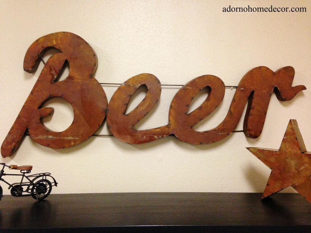 Rustic Metal Beer Sign Wall Decor Industrial Bar Recycled