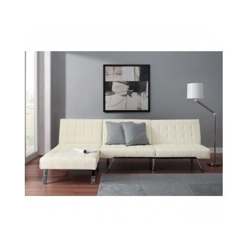 Queen Sofa Bed Sleeper Futon Chaise Lounge White Faux