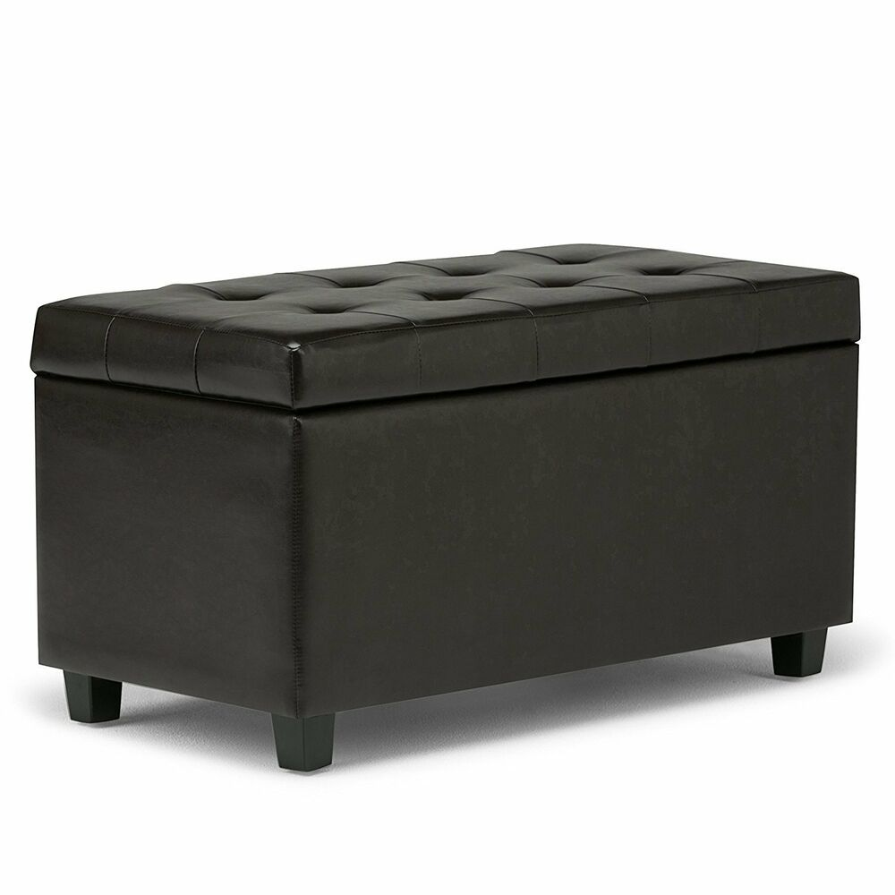 Footstool Ottoman Leather Storage