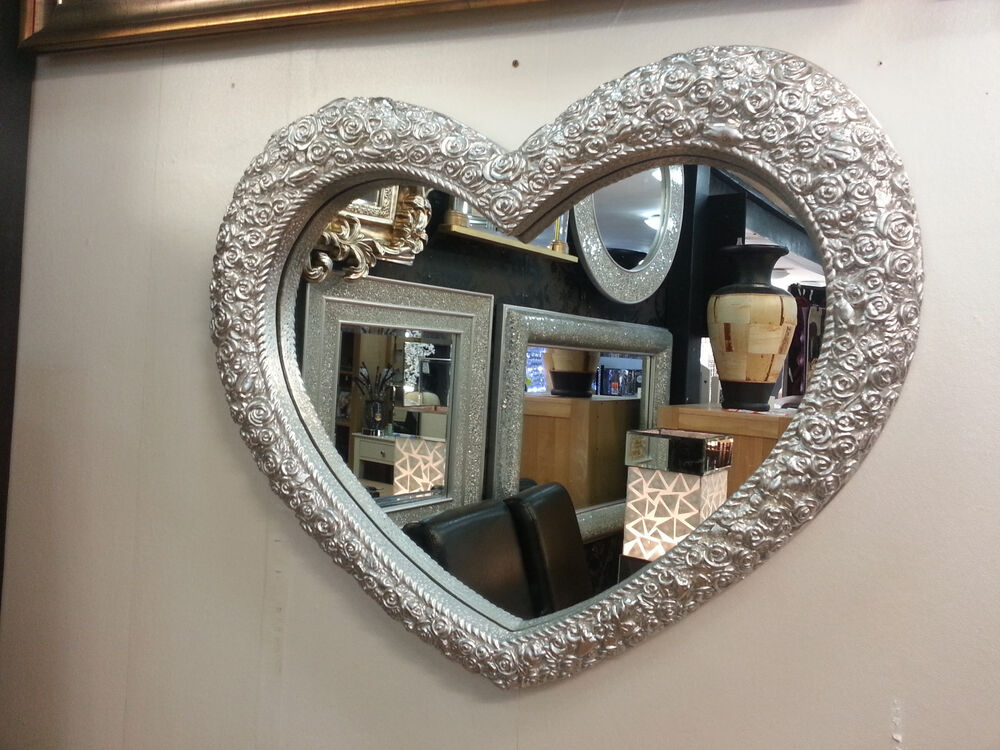 Heart Wall Mirror Ornate Silver Colour Frame French