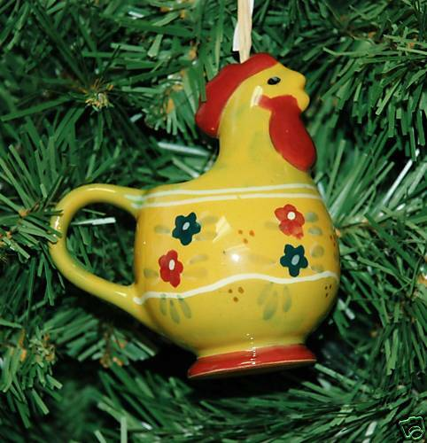 Chicken Hen Ceramic Christmas Ornament EBay