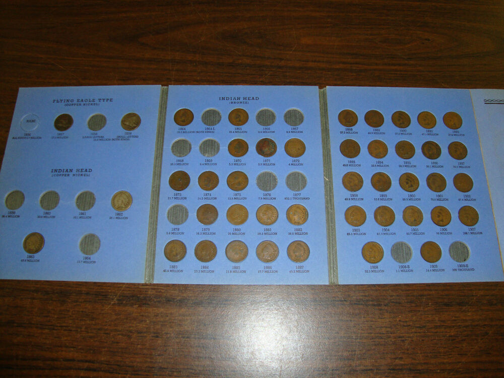 Indian Head Cent Coin Book Including 2 Flying Eagles Coins From 1856 1909 EBay