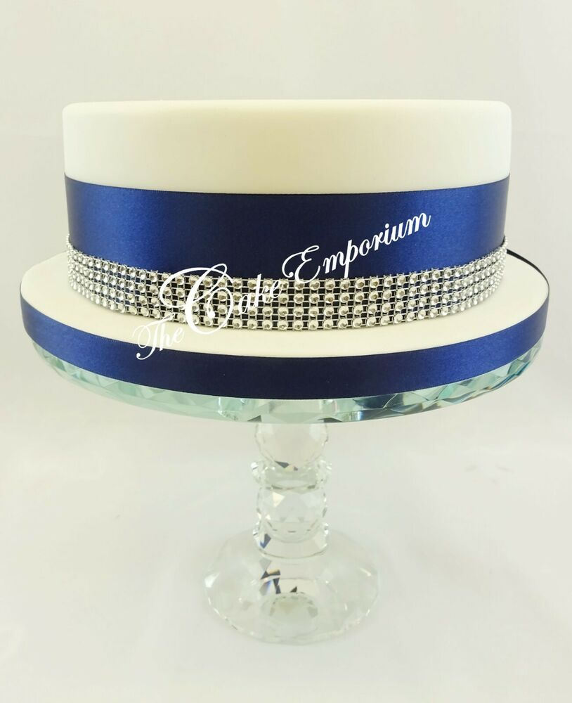SPARKLING ROUND DIAMANTE EFFECT CAKE TRIM Amp RIBBON 12 Amp 5