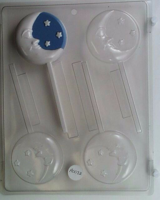 Moon With Stars Lollipop Clear Plastic Chocolate Candy