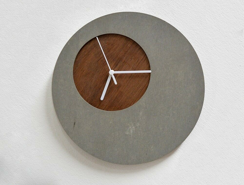 Concrete Circle Wall Clock With Wooden Hole