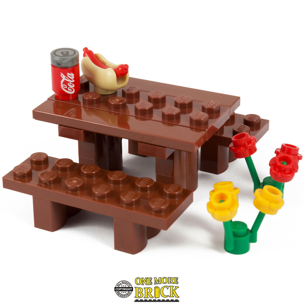 Lego Picnic Table With Park Bench Flowers Glasses