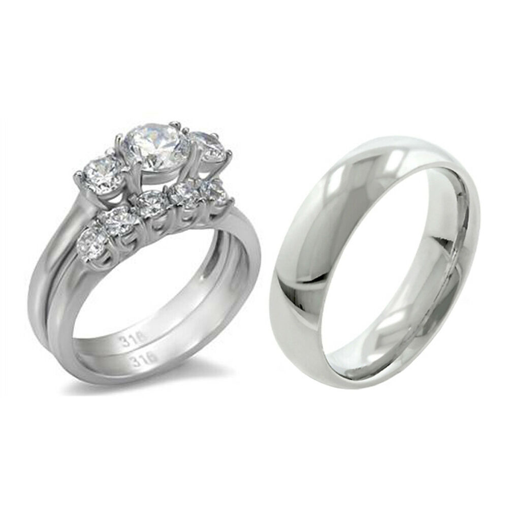 His Hers 3 PCS Stainless Steel Womens Wedding Ring Set W