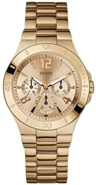 guess u13624l1 chronograph active rose gold tone steel ladies