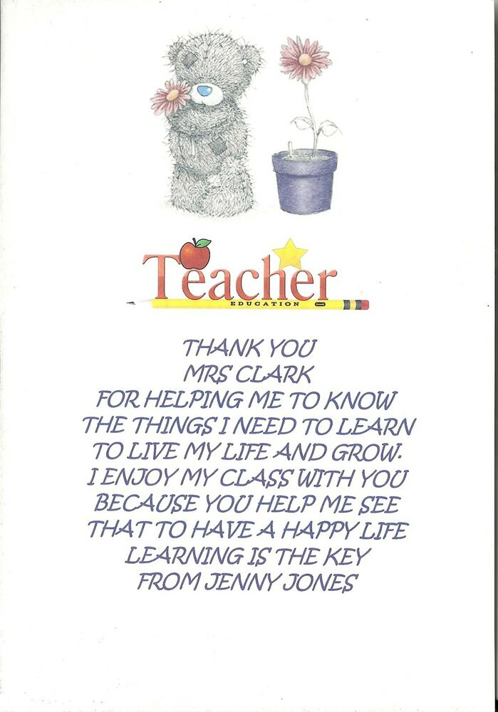 PERSONALISED THANK YOU TEACHER POEM LEAVING GRADUATION END OF TERM GIFT LAST DAY EBay