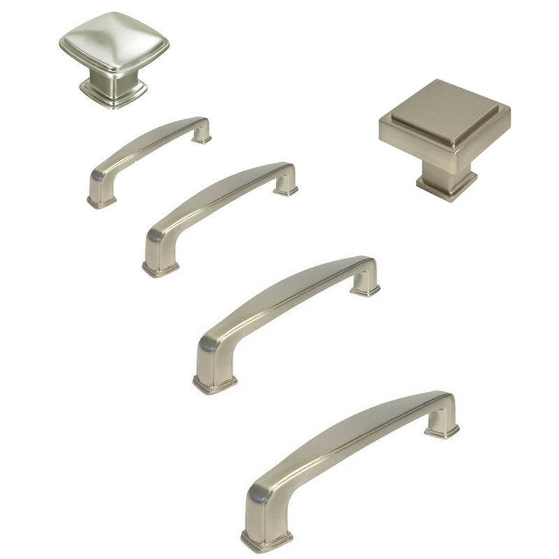 Brushed Nickel Cabinet Square Knobs Pulls 31MM 76MM 89MM