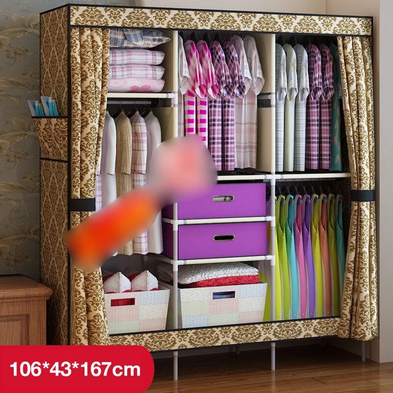European New Clothes Hanging Armoire Closet Storage