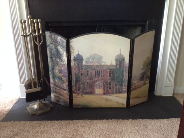 Fireplace Decorative Wood Hand Painted Screen