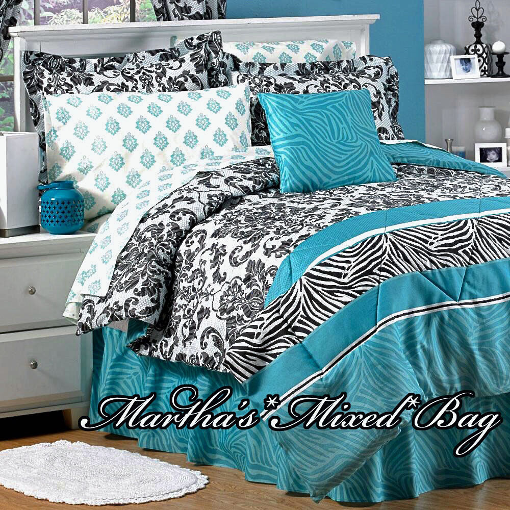 TEAL ZEBRA STRIPE Black PARISIAN FRENCH DAMASK Bedding 6 8p ComforterSheet Set EBay