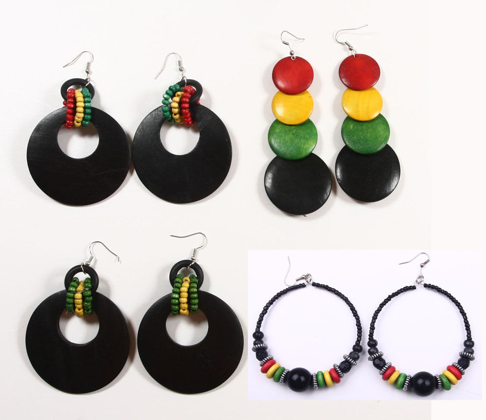 RASTA WOODEN EARRINGS Reggae Jamaica EBay