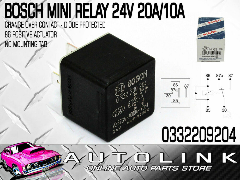 BOSCH MINI RELAY 24V 5PIN CHANGE OVER 20/10A
