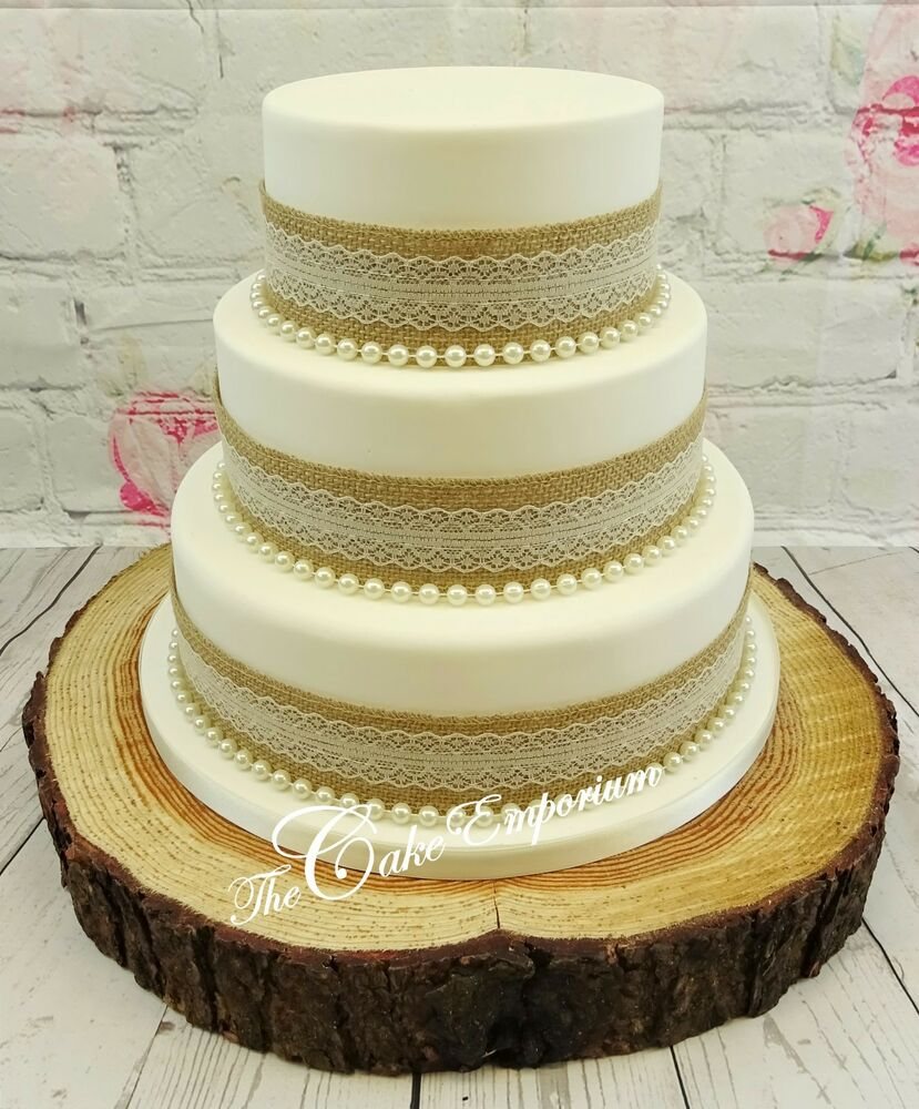 VINTAGE RUSTIC WEDDING CAKE HESSIAN Amp LACE RIBBON WITH