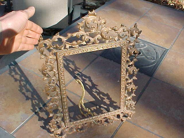 ANTIQUE ORNATE LARGE HEAVY BRASS PICTURE FRAME