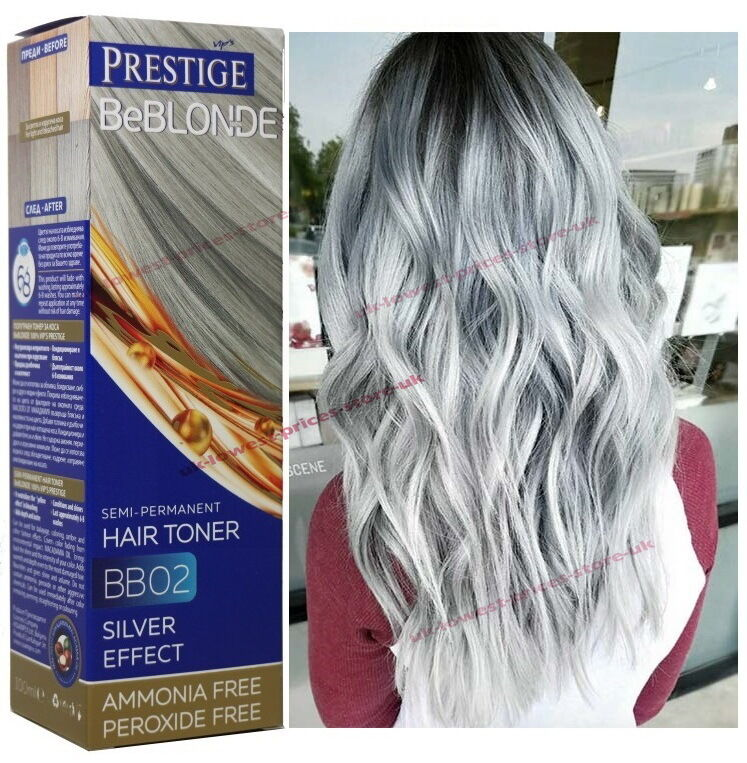 BB02 GREY HAIR SILVER EFFECT TONER DYE BLOND HAIR 100 Ml