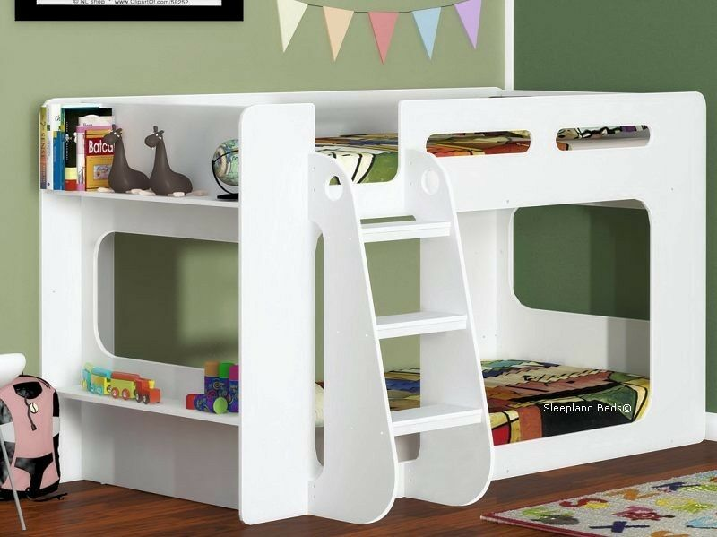 White Short Height Bunk Bed Extra Low Bunk With Storage