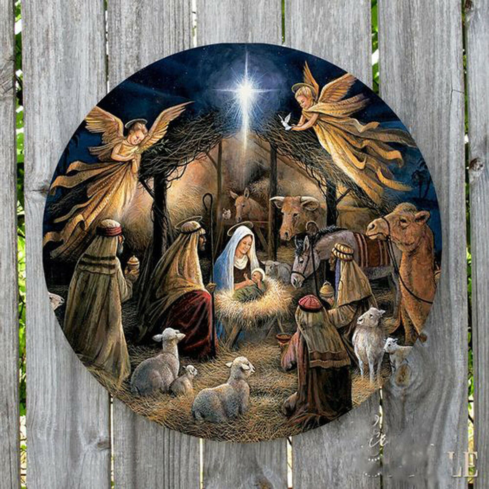 CHRISTMAS MANGER NATIVITY SCENE ROUND METAL SIGN EBay