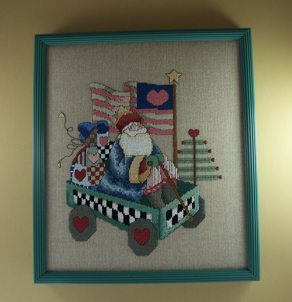 Patriotic Completed Finished Cross Stitch FATHER CHRISTMAS