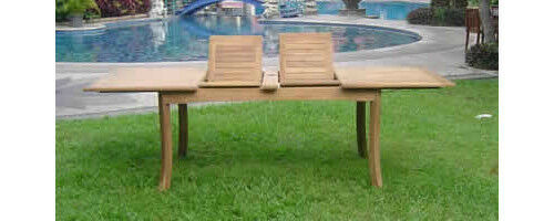 """Grade-A Teak Wood 117"""" Double Extension Rectangle Dining"""