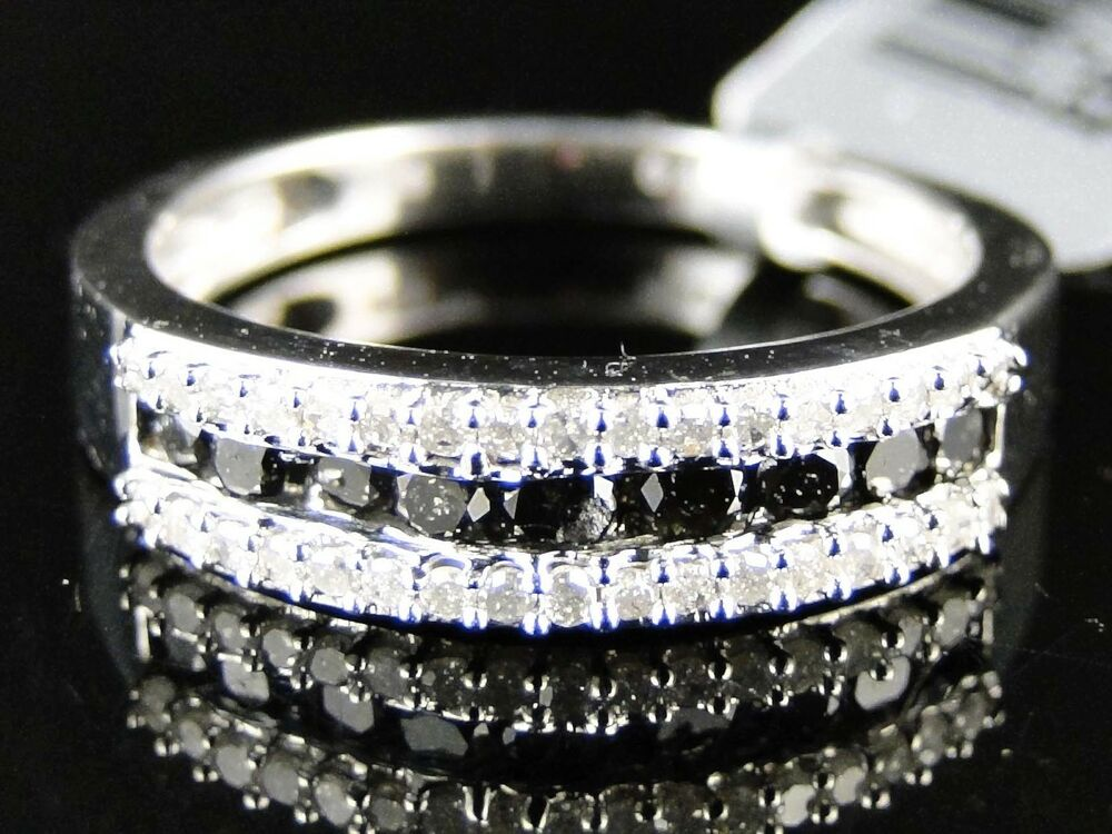 Womens White Gold Finish Round Cut Black Diamond Wedding