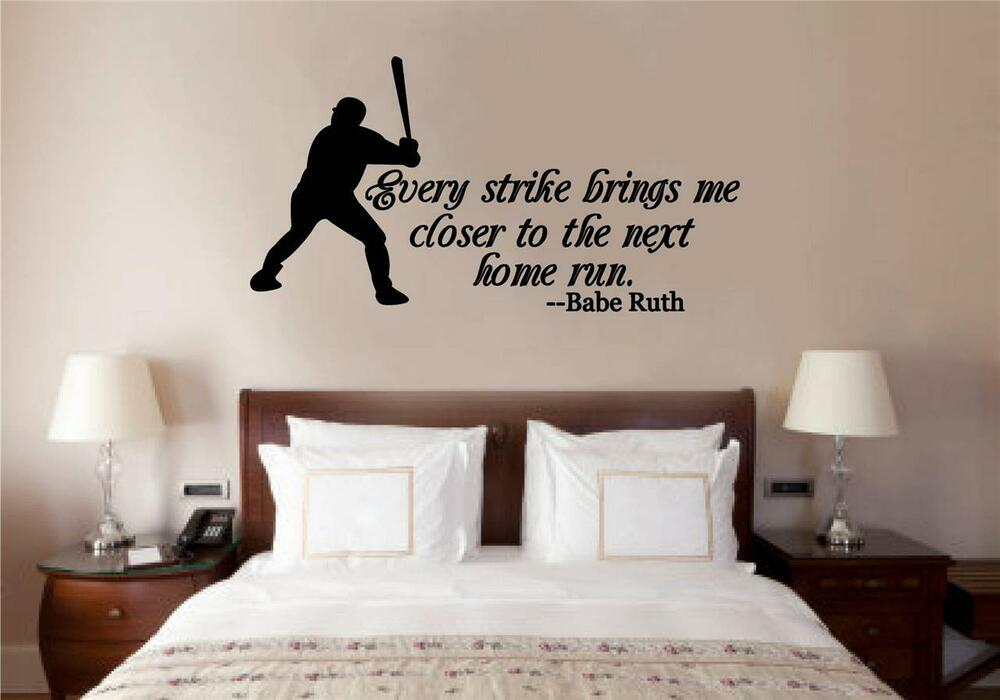 Baseball Babe Ruth Quote Vinyl Decal Wall Stickers Words