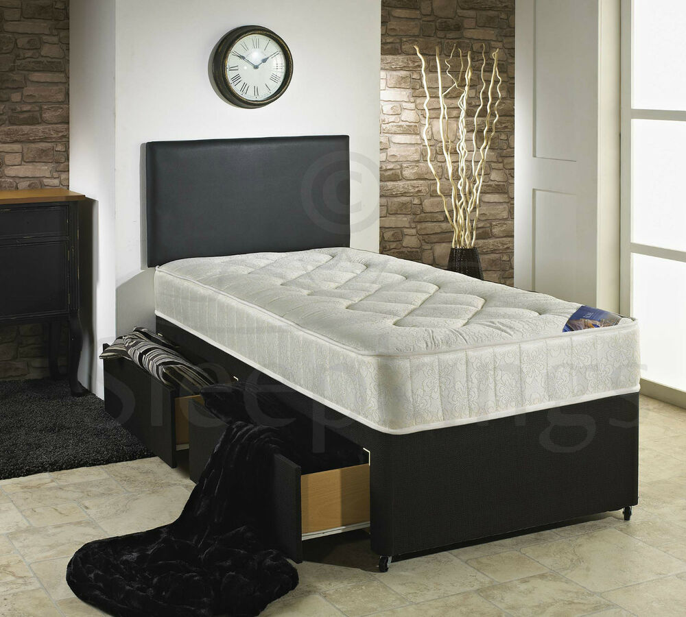 3FT SINGLE DIVAN BED BLACK WITH QUILTED MATTRESS STORAGE