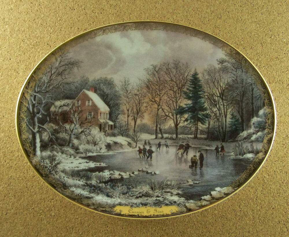 Currier Amp Ives Christmas EARLY WINTER Plate Oval 1