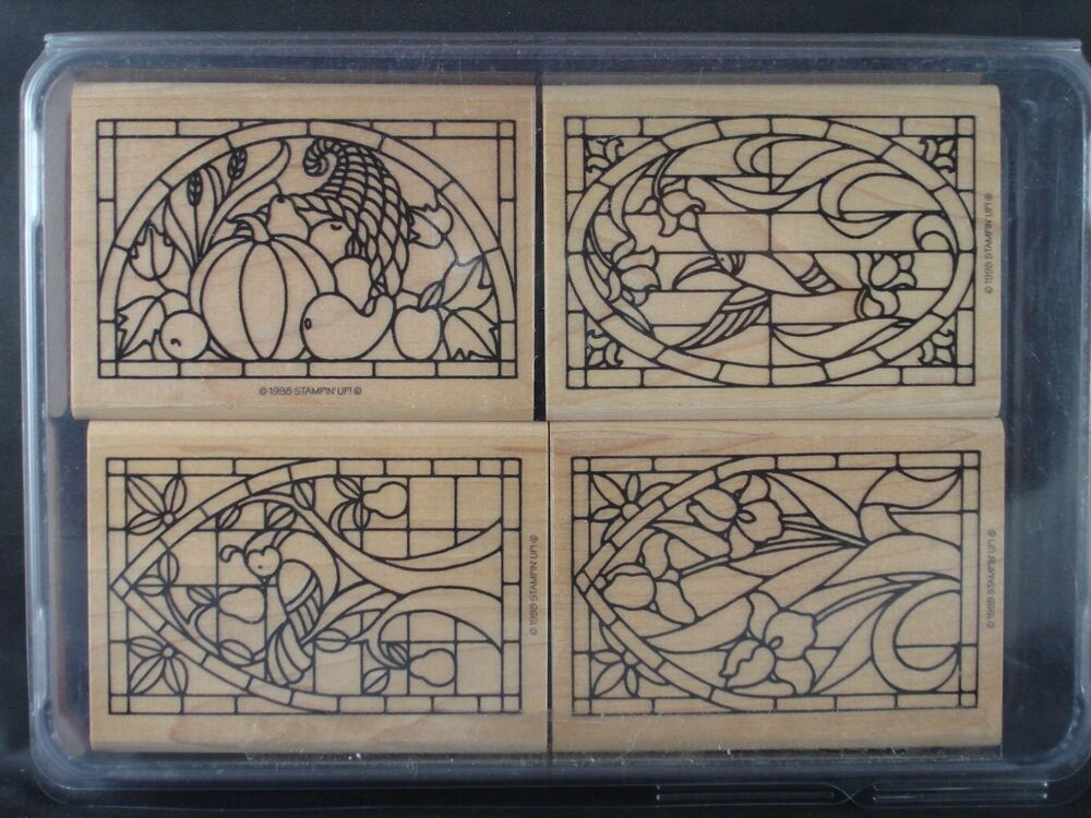 Stampin Up Rubber Stamp Set STAINED GLASS 1998 Iris