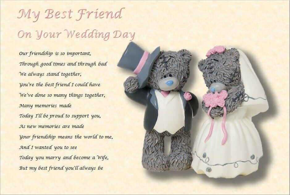 MY BEST FRIEND - On Your Wedding Day ( Laminated Gift)