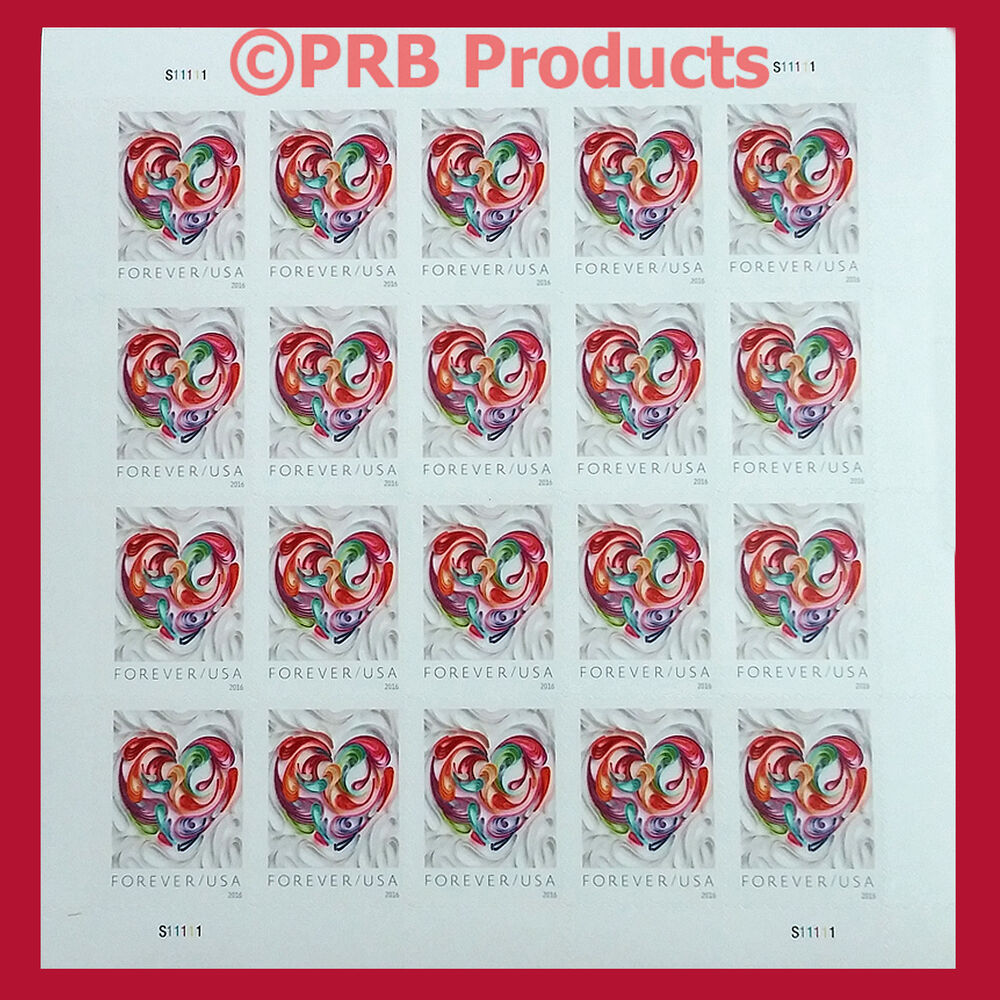Quilled Paper Heart Sheet Of 20 USPS Forever Postage Stamp
