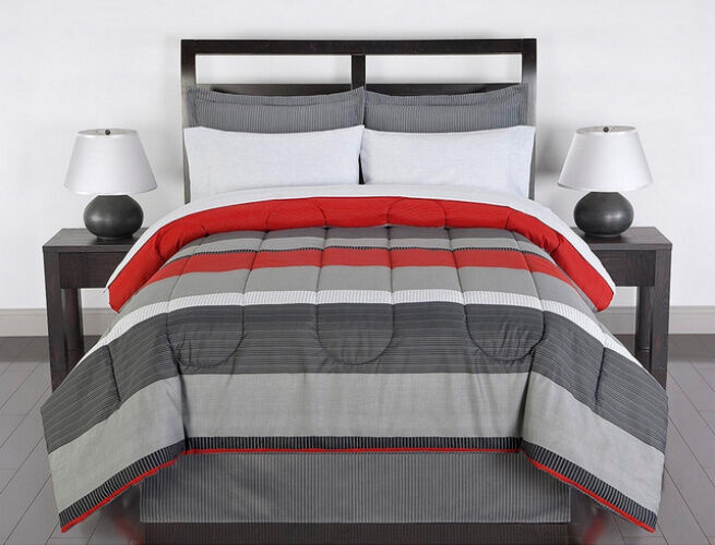 Red Gray White Striped 6 Piece Twin Size Comforter Bedding
