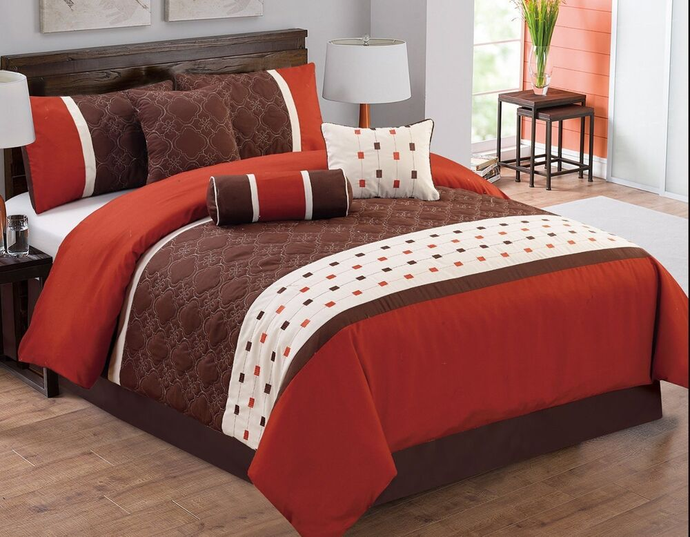 7PC Costa Mocha Red Orange Comforter Set_QUEEN